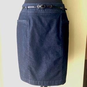 NEW Kenneth Cole Dark Navy Denim Jean Skirt Size 8